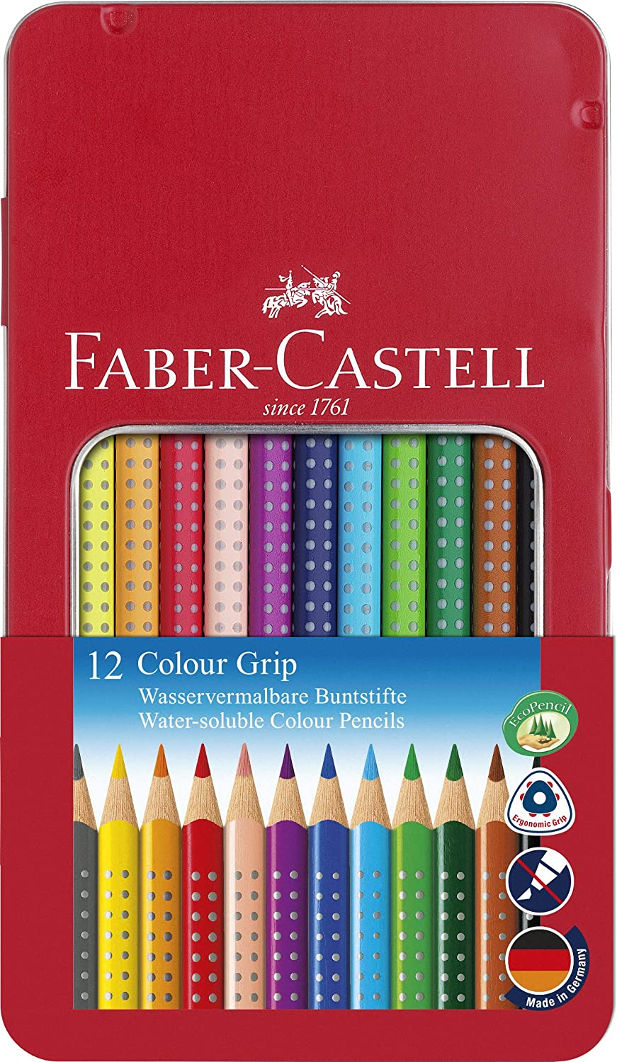 Faber Castell 112413 - Estuche de metal con 12 ecolápices triangulares de colores, agarre Grip, acuarelables, lápices escolares, multicolor: Amazon.es: Oficina y papelería