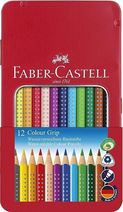 Faber Castell 112413 - Estuche de metal con 12 ecolápices triangulares de colores, agarre Grip, acuarelables, lápices escolares, multicolor: Amazon.es: Oficina y papelería