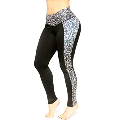 Women Black and animal print Pattern Leggings slim control by Bon Bon Up