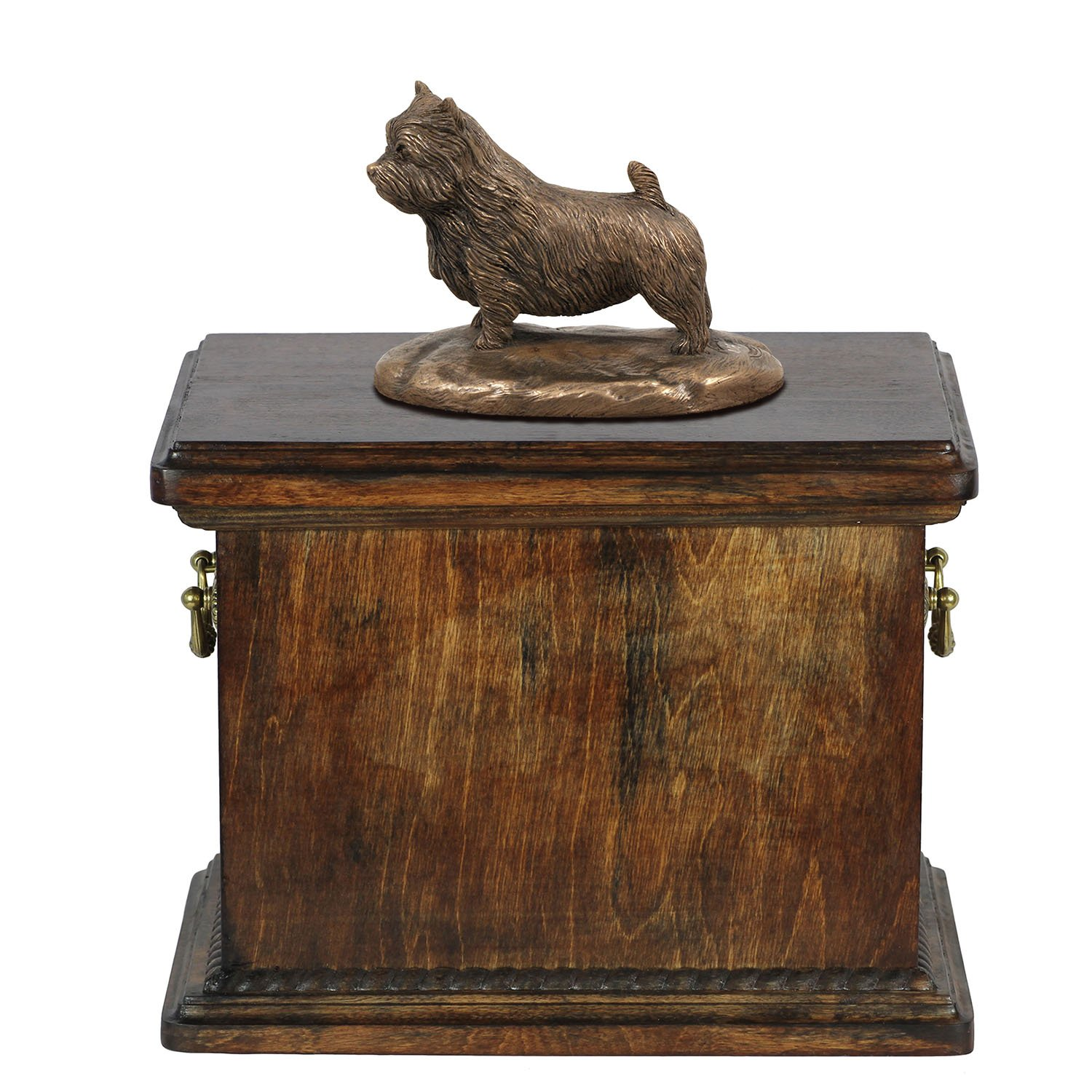 Norwich Terrier, memorial, urn for dog's ashes, with dog statue, ArtDog