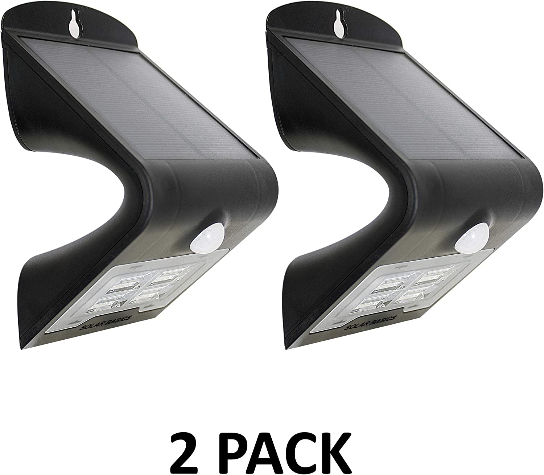 SOLAR BASICS SBG2-407 Security Solar Wall Stair & Step Light, 2-Pack, Black, 2 Count