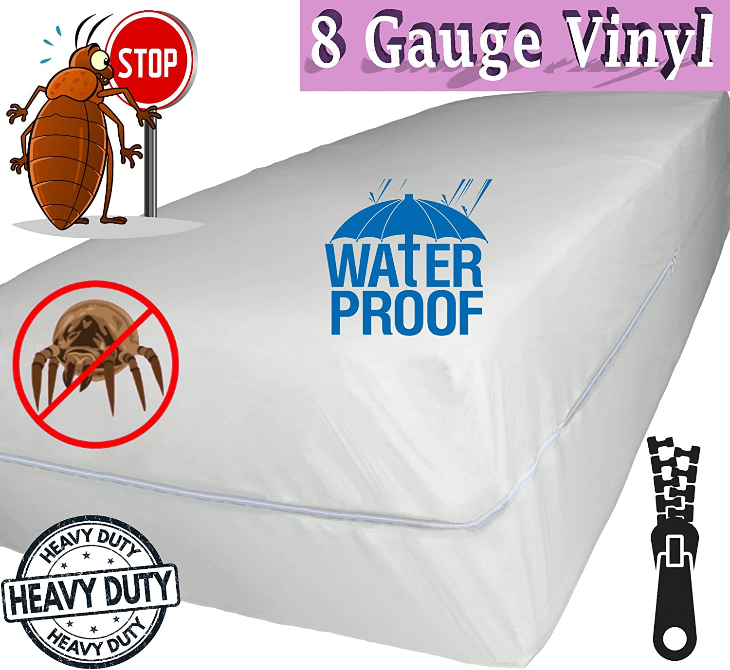 Amazon.com: v Superior Extra Heavy 8 Gauge Vinyl Mattress Protector Zippered Encasement Cover 100% Waterproof & Bed-Bug Proof Twin: Home & Kitchen