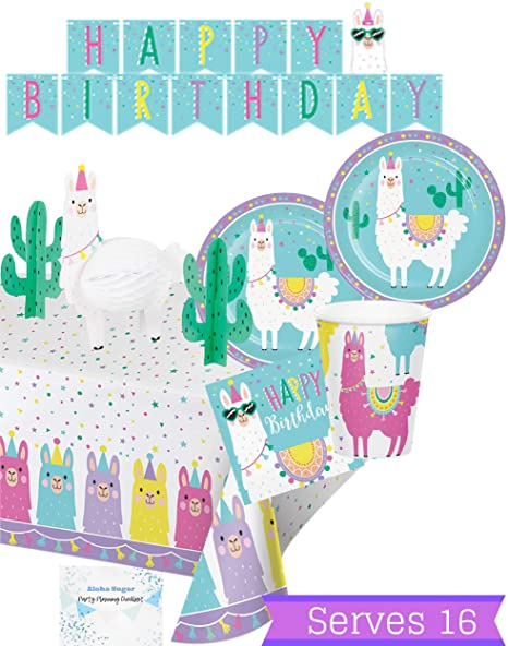 45951a437ec20 Llama Party Supplies and Decorations - Llama Plates Cups Napkins for 16  People - Includes Banner, Tablecloth and Centerpiece - Perfect Llama  Birthday ...