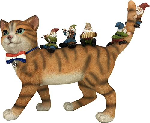 GlitZGlam Patrick The Patriotic Miniature Cat and The Happy Gnomes – A Fairy Garden Gnome Figurine