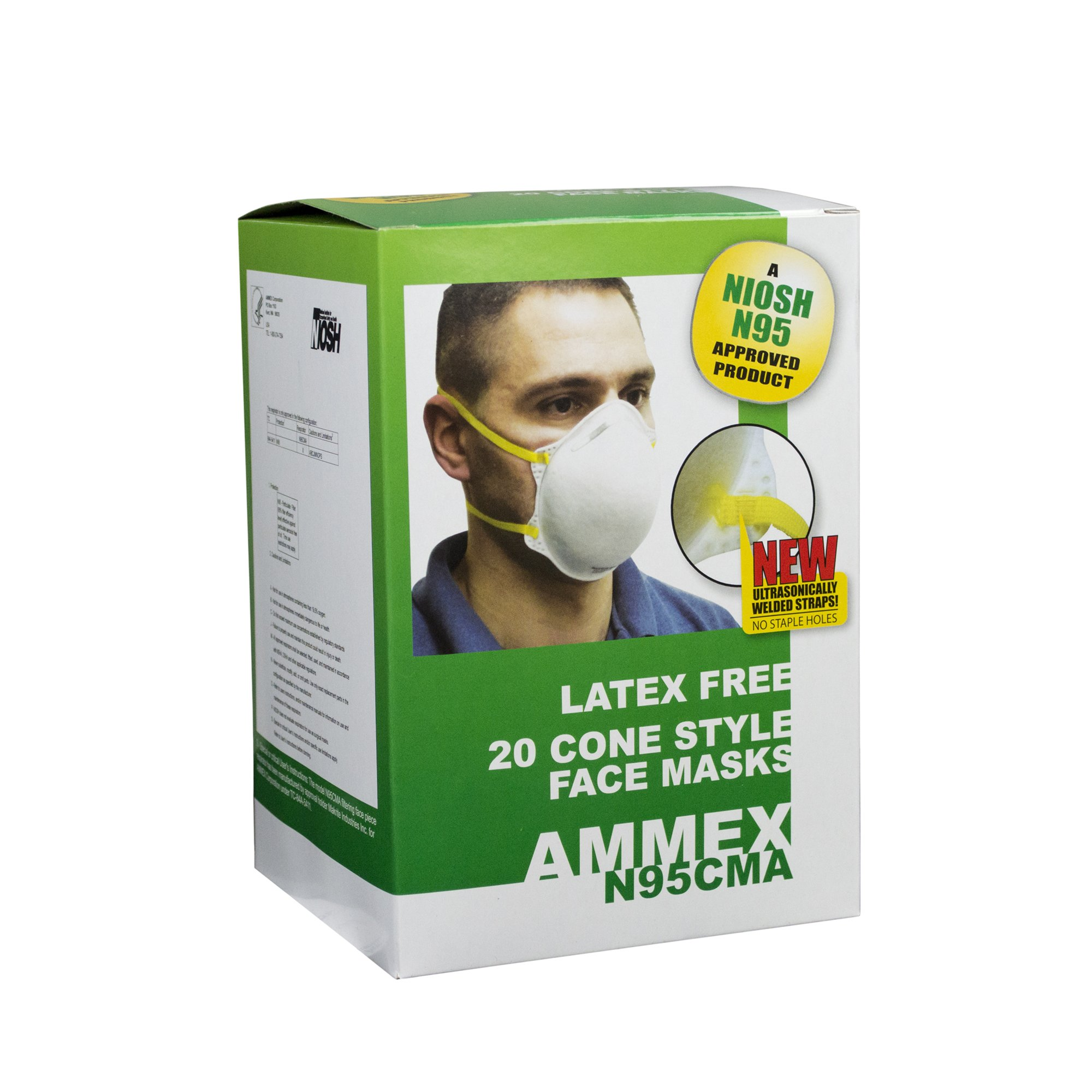 AMMEX - N95CMA-BX - Cone-Style Face Mask - NIOSH Certified, One Size, White (Box of 20)