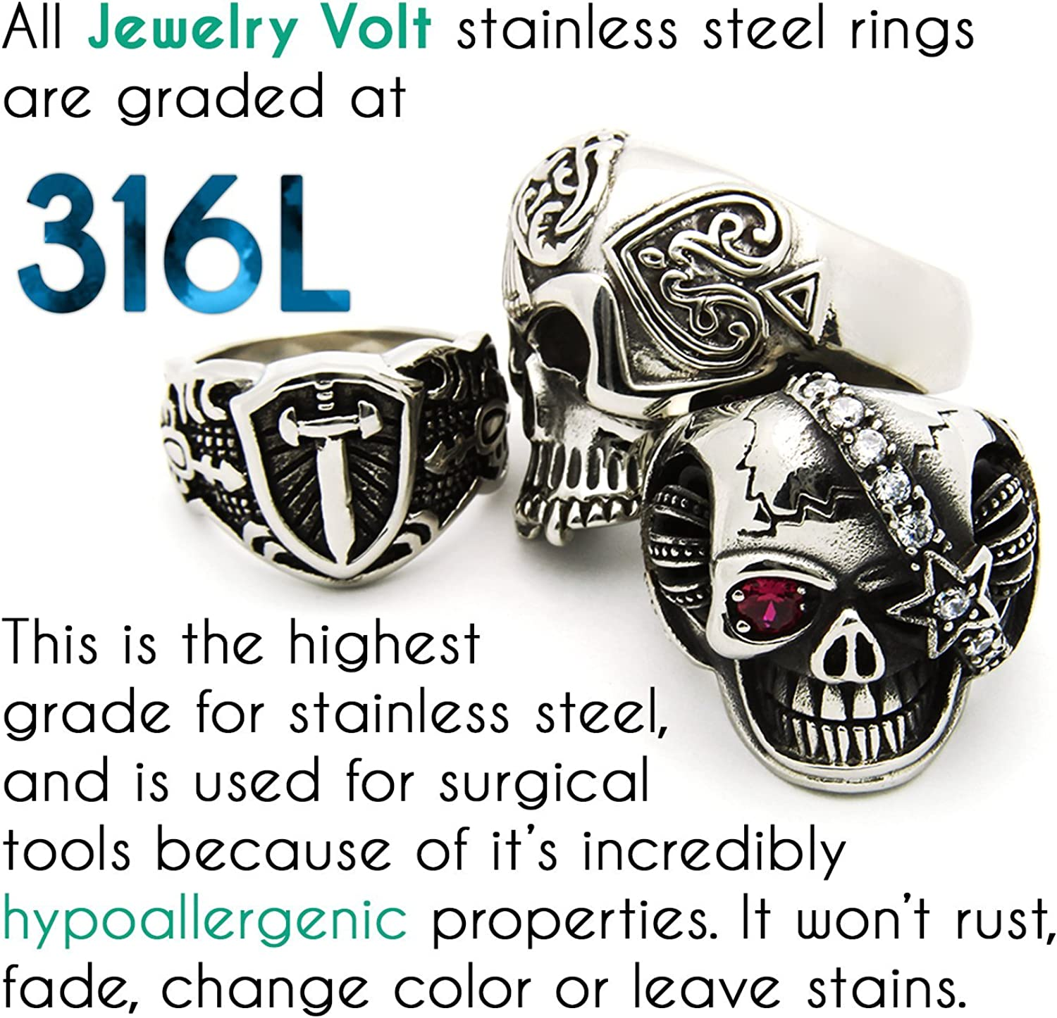 JewelryVolt Stainless Steel Ring Dress CZ