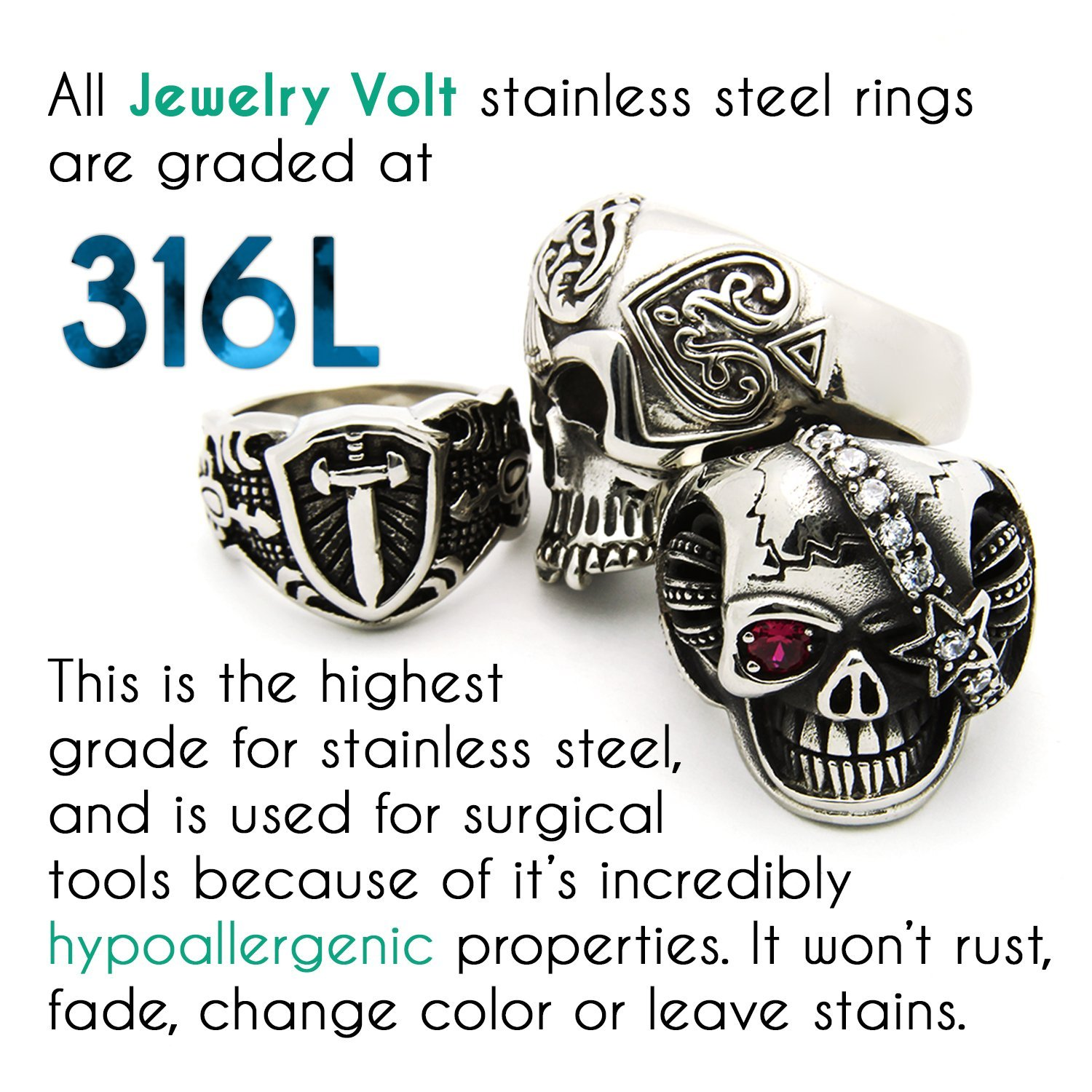 JewelryVolt Stainless Steel Ring Roman Numerals