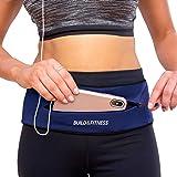Build & Fitness Zipper Running Belt – Adjustable Waist Pack, Slim, Comfortable with Key Clip – Fits all Phone models, Keys, C