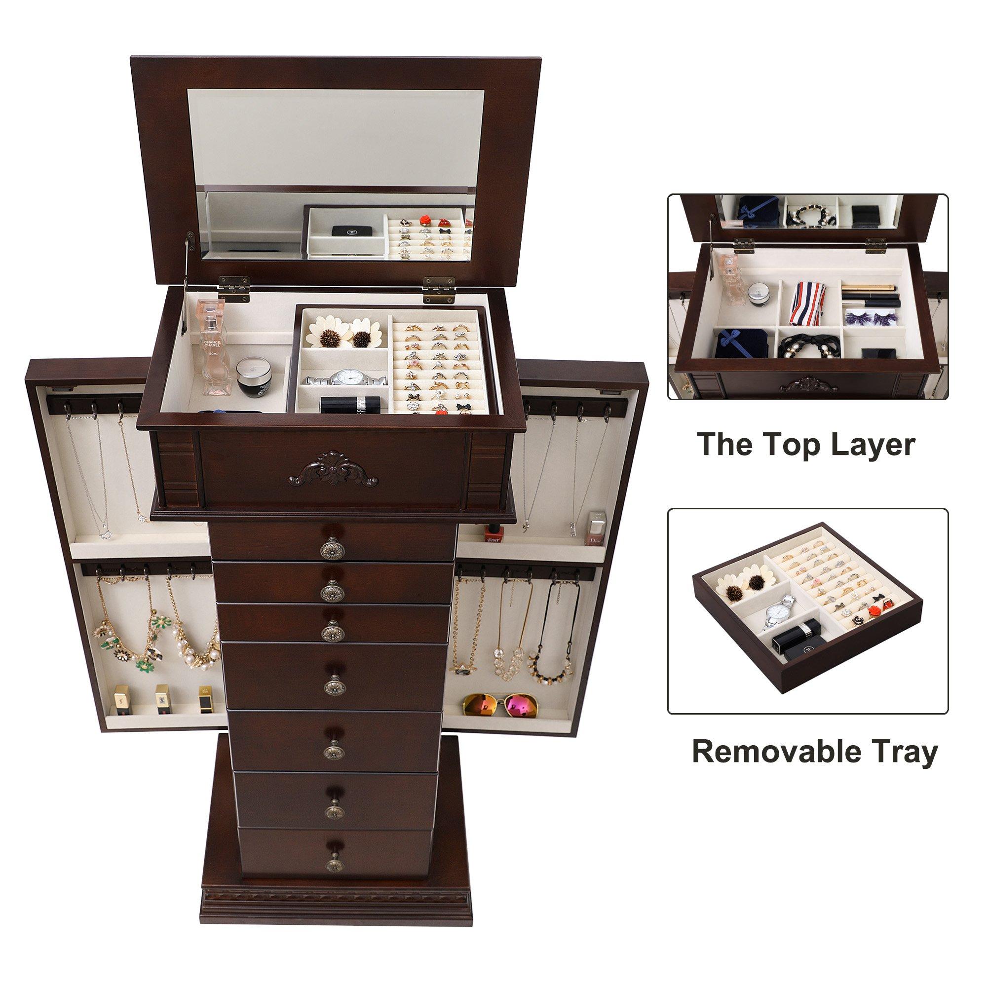 SONGMICS Large Jewelry Armoire Cabinet Standing Storage Chest Neckalce Organizer Dark Walnut UJJC14K by SONGMICS (Image #4)