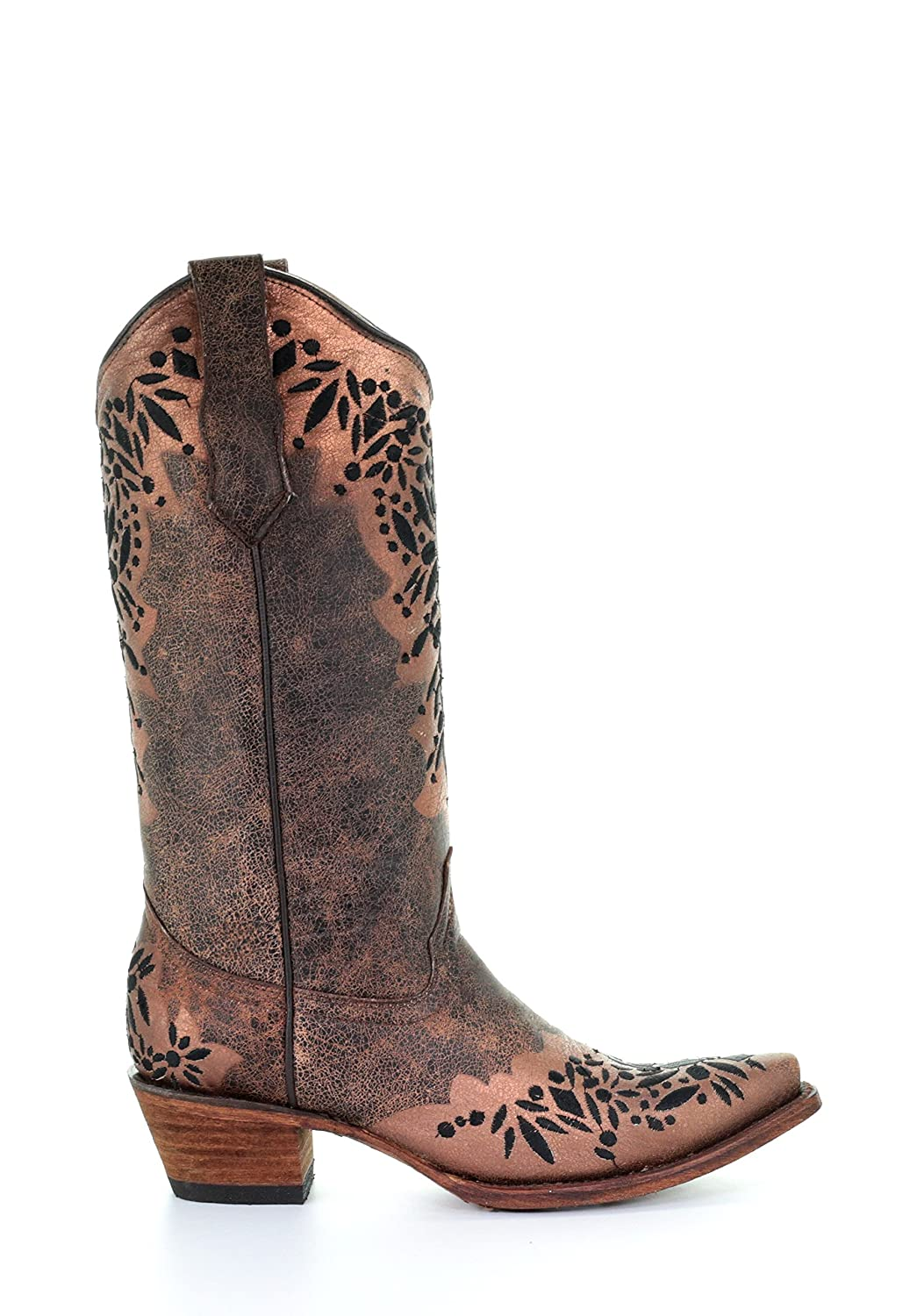 Corral Circle G Women's Black Embroidery Snip Toe Leather Cowgirl Boots - Shedron B07BJCFGW4 7.5 B(M) US|Black