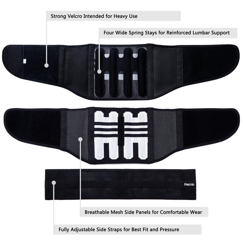 FREETOO R/ückenbandage mit St/ützstreben Verstellbare Zuggurte und atmungsaktiver Nylonstoff ideal f/ür Arbeitsschutz entlastet die R/ückenmuskulatur zur Haltungskorrektur