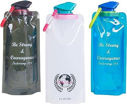 Plegable botellas de agua por Dios que vida – 3 Pack incluye una ...