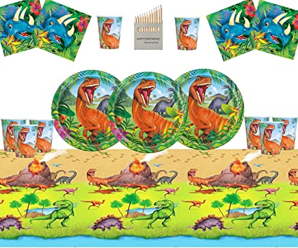 Dinosaur Party Supplies Set Dinosaur Birthday Party Decoration Kit For 16- Dino Plate Cup Napkins Table Cover