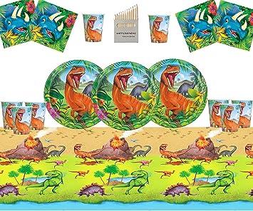 Juego de Suministros para la Fiesta de Dinosaurios Juego de decoración de la Fiesta de cumpleaños de Dinosaurios para 16- Dino Plate Cup Servilletas Cubierta de Tabla: Amazon.es: Juguetes y juegos