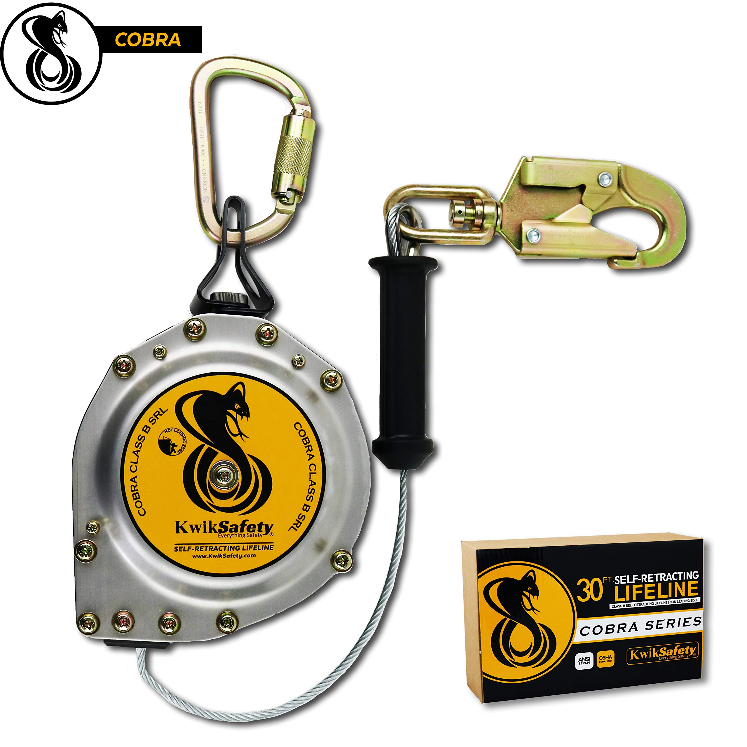 KwikSafety (Charlotte, NC) COBRA 30' Poly Web Self Retracting Lifeline (NO TANGLE) ANSI CLASS B SRL Locking Snap Hook Shock Absorber | Roofing Construction Personal Fall Arrest Protection Safety Yoyo