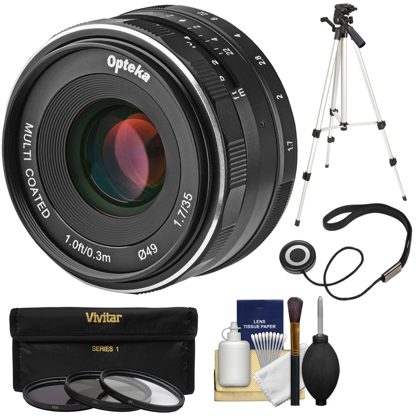 Opteka 35mm f/1.7 HD MF Prime Lens with 3 Filters + Tripod Kit for Olympus OM-D, Pen & Panasonic LUMIX Micro 4/3 Digital Cameras by Opteka (Image #1)