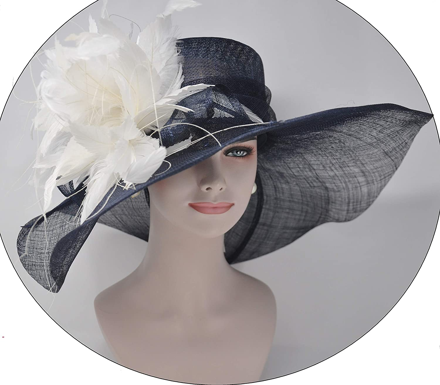 Navy bluee w Ivory Feather Flower Kentucky Derby Hat, Church Hat, Wedding Hat, Easter Hat, Tea Party Hat Wide Brim Woman's Sinamay Hat