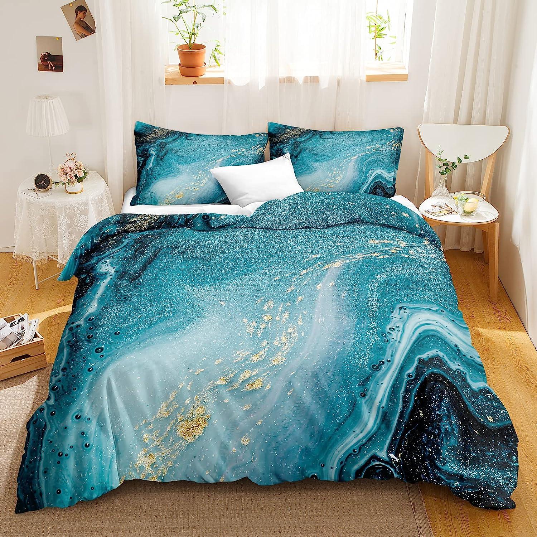 Pillowcase Marble Duvet Quilt Cover Bedding Set Single Double King Sizes Colours