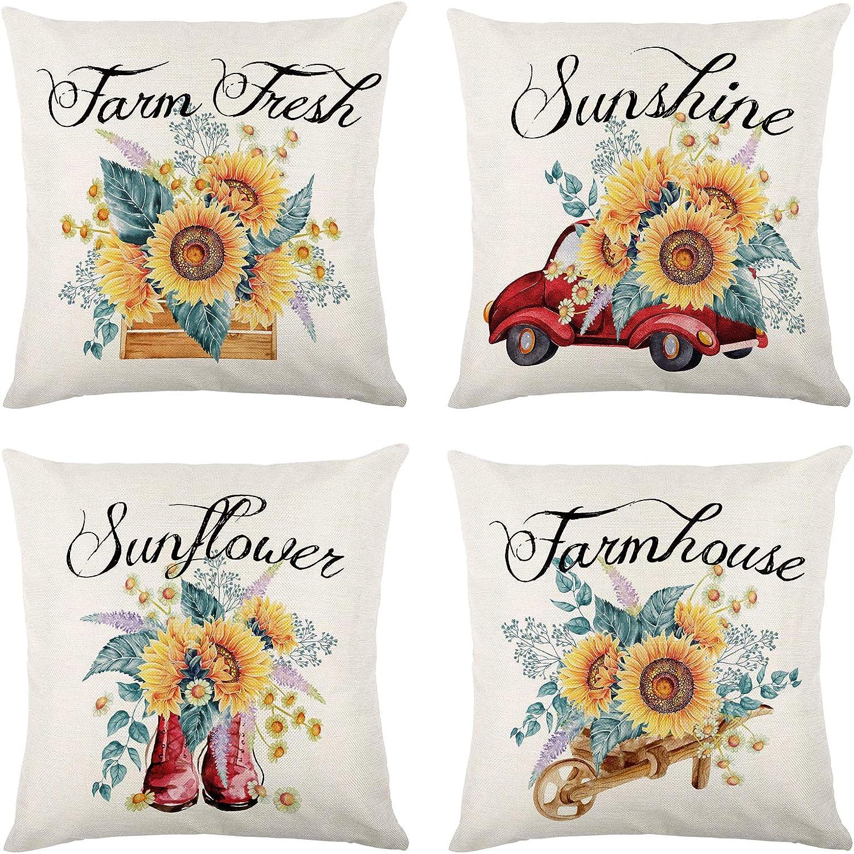 Molili Summer Sunflower Pillow Covers 18x18 Set of 4 Sunflower Truck Sunshine Decorative Pillow Case Rustic Burlap Linen Throw Pillows for Summer Farmhouse Decor