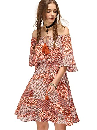 f9ab0b6dc7 Milumia Women's Boho Button up Split Floral Print Flowy Party Dress Small  Orange