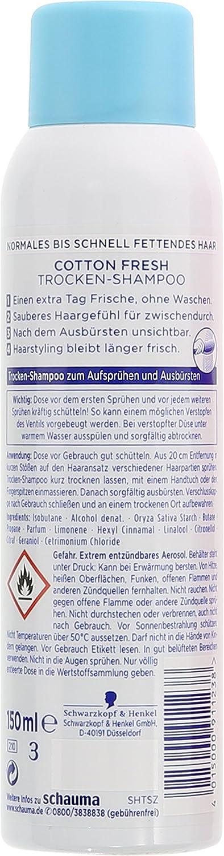 Champú seco Schauma Cotton Fresh de Schwarzkopf, pack de 3 unidades (3 x 150 ml): Amazon.es: Belleza