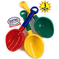 "Matty's Toy Stop 10.5"" Kids Multi-Color Sand Scoop Plastic Shovels for Sand & Beach (Red/Blue, Yellow/Green & Green/Yellow) Complete Gift Set Bundle - 3 Pack"