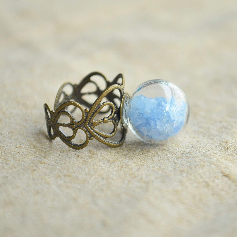 Azul Piedra Brillan en la Oscuridad Vaso Bola Corazón Cobre Redimensionables Anillos