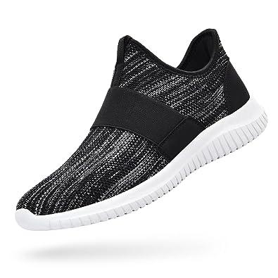 3e747da9e97 Troadlop Womens Sneakers Lightweight Breathable Mesh Slip On Casual Tennis  Shoes Athletic Walking Running Sneakers Black