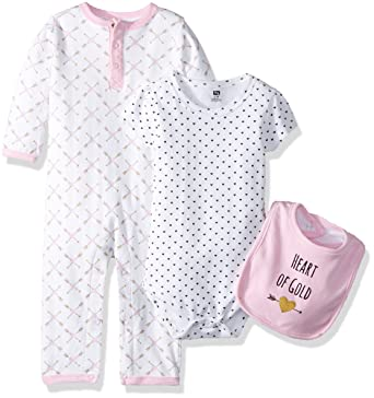 b07aac1f6 Hudson Baby Baby Multi Piece Clothing Set, Hearts 3, 0-3 Months (