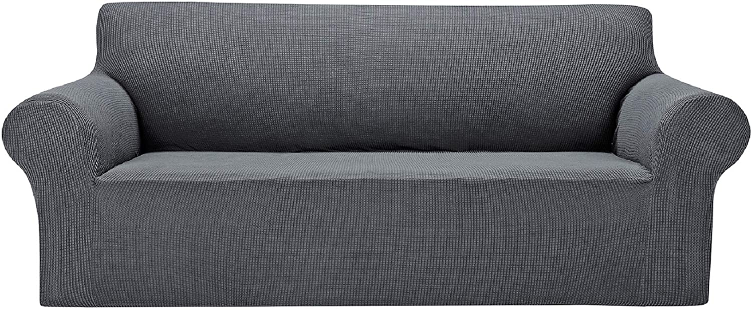 """AlGaiety Stretch Sofa Cover Slipcover, Furniture Protector Spandex 1-Piece Couch Coat(80""""-93"""") with Elastic Bottom for Dogs, Cats, Kids Small Checked Pattern Fabric (X Large, Gray)"""