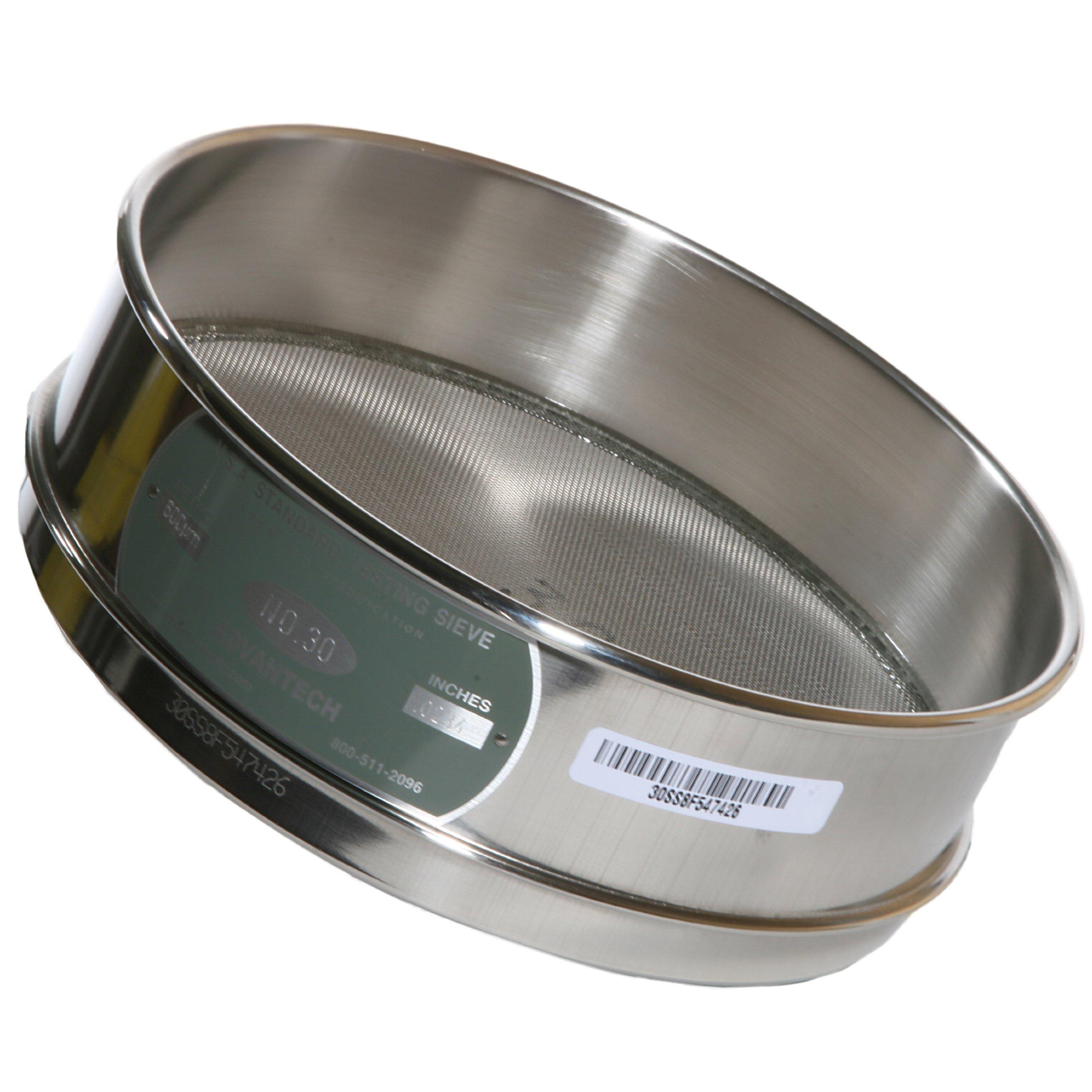 Advantech Stainless Steel Test Sieves, 8'' Diameter, #30 Mesh, Full Height