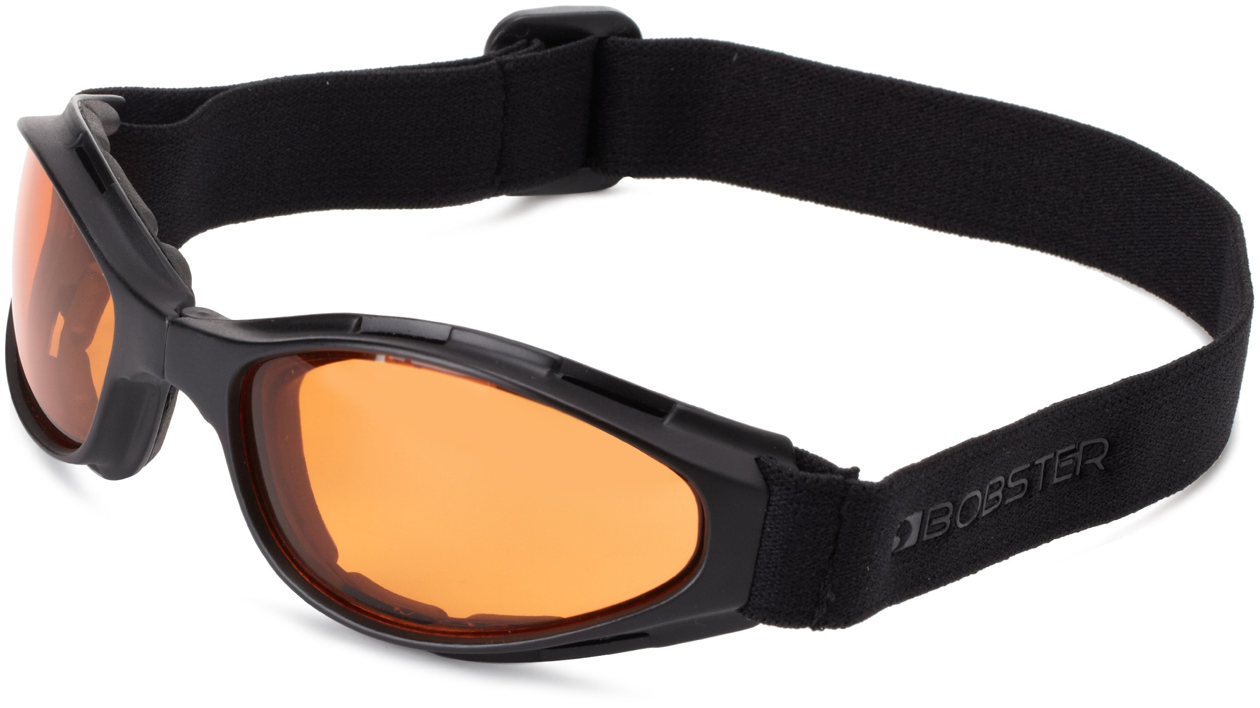 Bobster Crossfire Small Folding Goggles, Black Frame/Amber Anti-Fog Lens