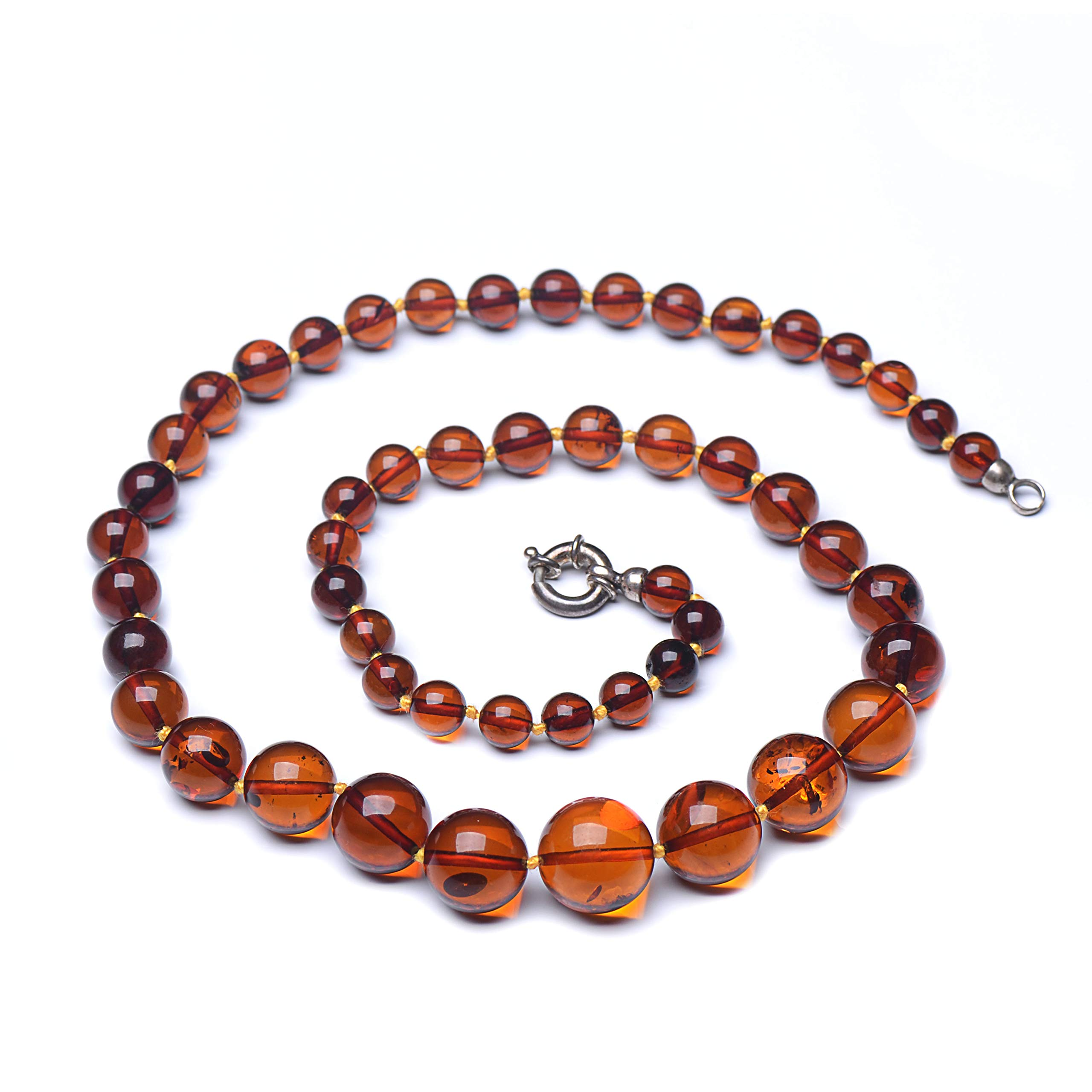 Round Bead Necklace - Cognac Baltic Amber Necklace - Unique Women Necklace by Genuine Amber