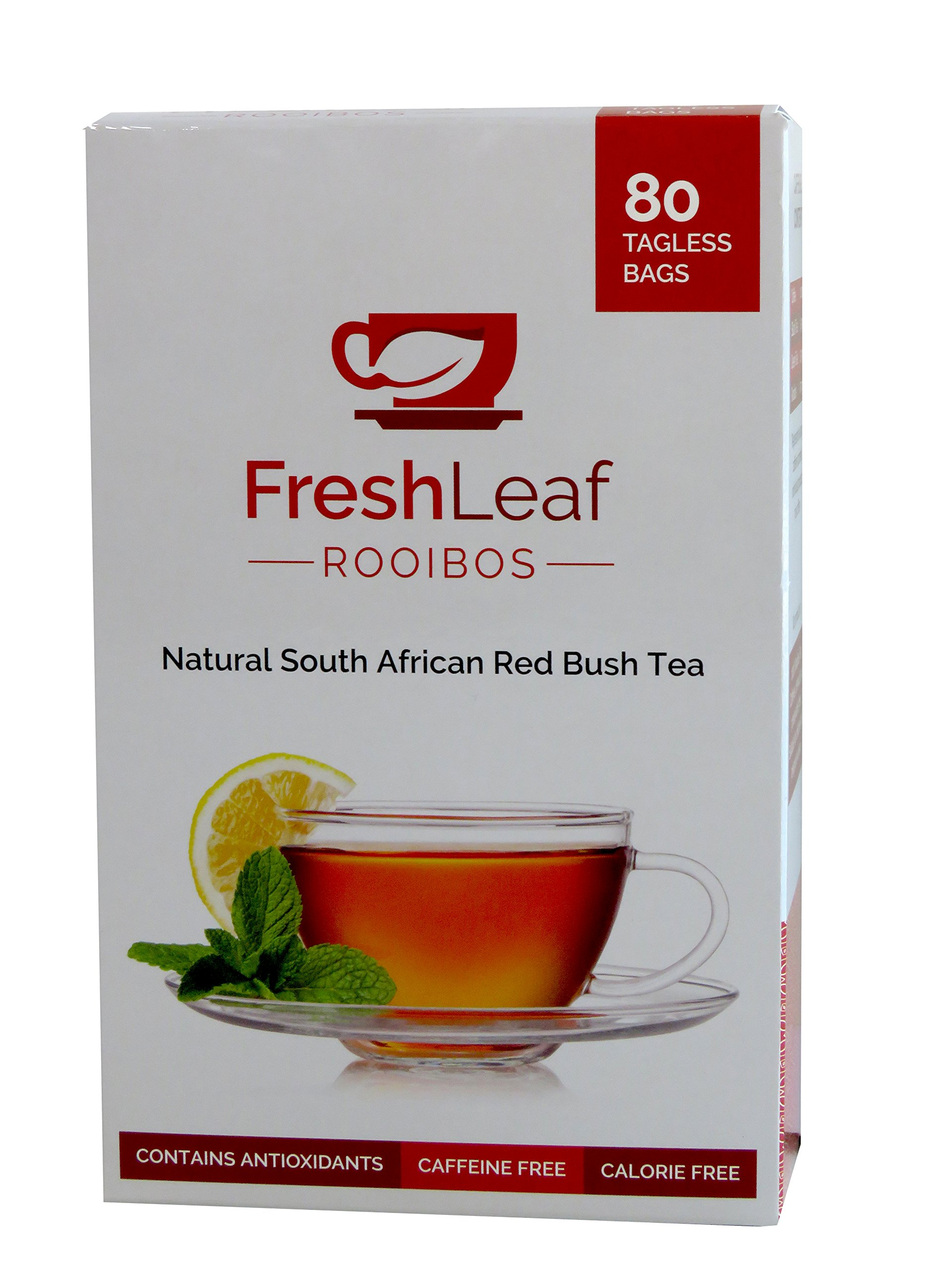FRESHLEAF Rooibos Tea - 80 Red Tea Bags, Red Tea Detox, 100% Pure South African Origin Red Tea, Caffeine & Calorie Free, Sustainably Farmed, GMO Free, Redbush Tea, Herbal Tea Drink