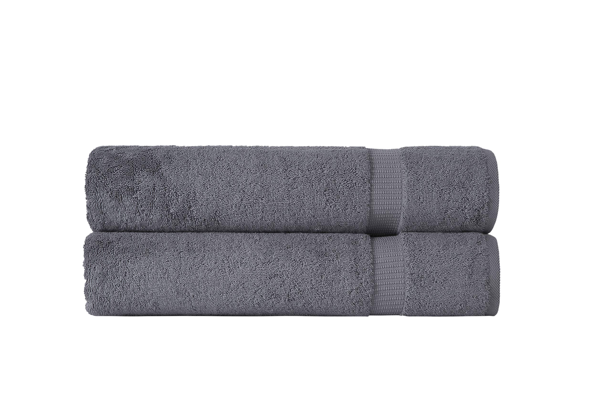 SALBAKOS Luxury Hotel & Spa Turkish Cotton 2-Piece Eco-Friendly Bath Sheet Set 35 x 70 Inch, Gray