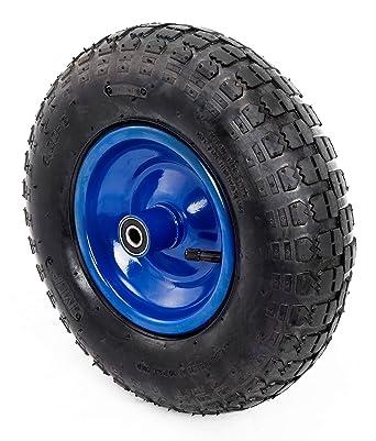 Rueda para carretilla 4.00-6 caucho macizo negro con centro azul
