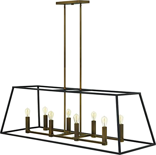 Hinkley 3338BZ Restoration Eight Light Stem Hung Linear from Fulton collection in Bronze Darkfinish,
