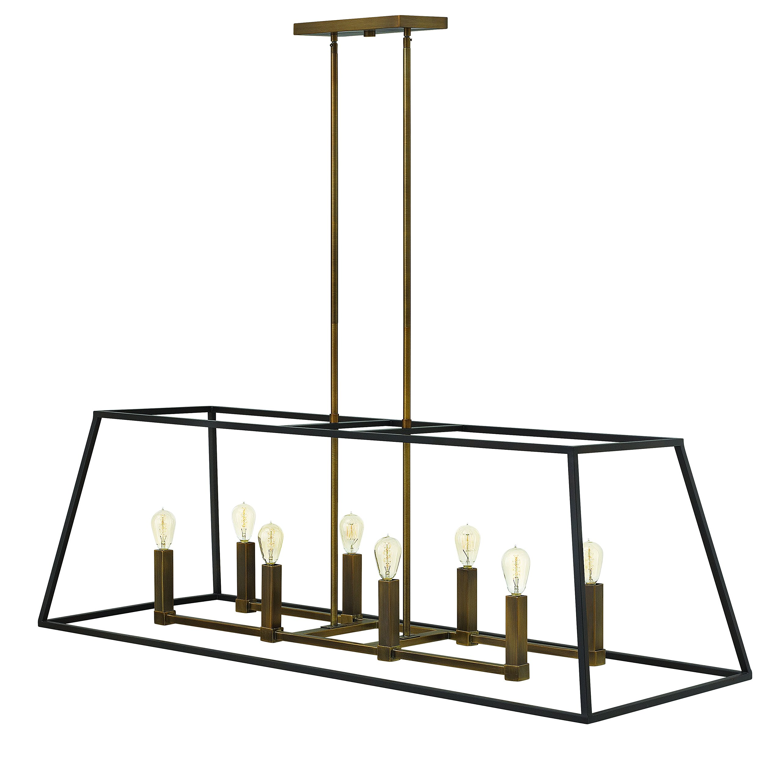 Hinkley 3338BZ Restoration Eight Light Stem Hung Linear from Fulton collection in Bronze/Darkfinish, by Hinkley (Image #1)