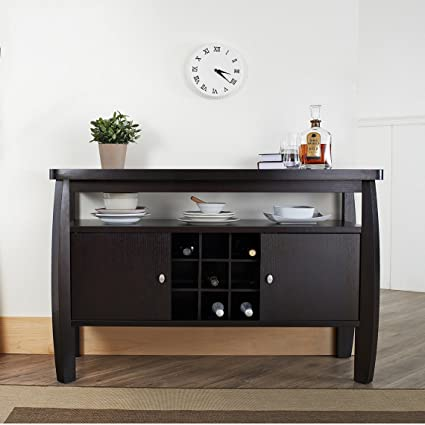 Contemporary Buffet Table, Wide Open Storage Shelf Underneath The Table  Top, Two Door Storage