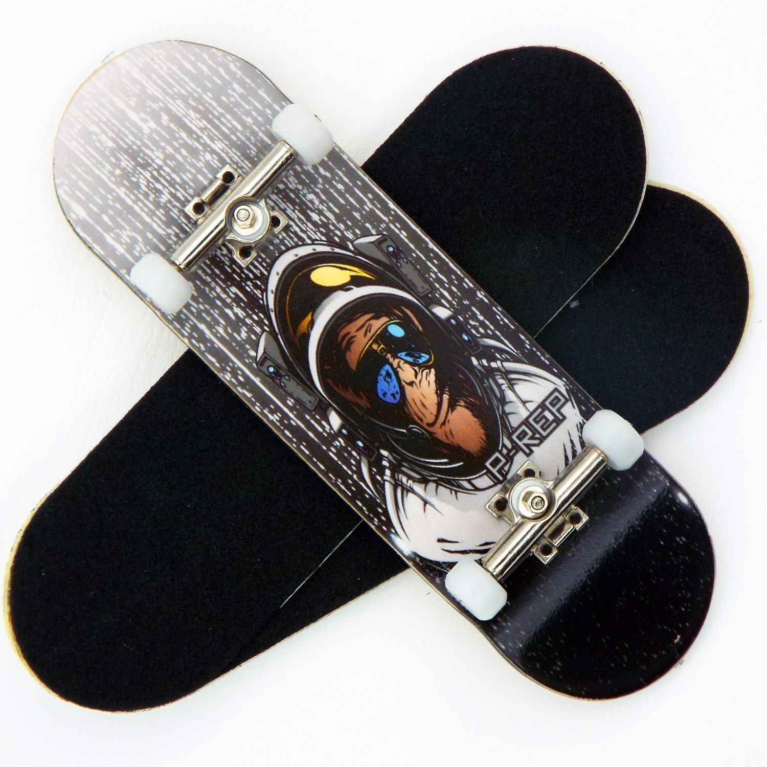 Peoples Republic P Rep Space Monkey 30mm Graphic Complete Wooden Fingerboard w CNC Lathed Bearing Wheels