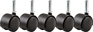 Shepherd Hardware 8741E Furniture Casters 2 inch Office Chair Caster, Twin Wheel, 7/16 inch Stem Diameter, 75-lb Load Capacity, 5 Pack