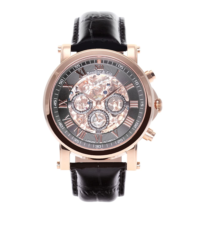 Boudier & Cie Herren-Armbanduhr mechanische Automatik Analog Skelettuhr Leder Schwarz - SK14H043