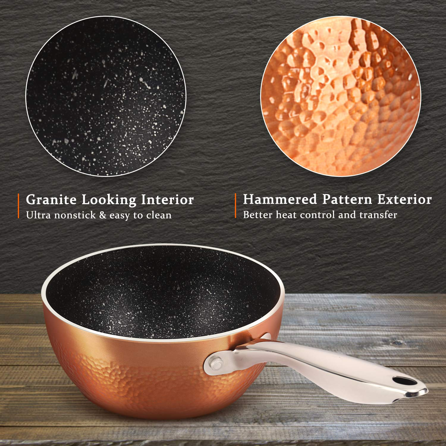 MICHELANGELO 1.5 Quart Sauce Pan with Lid, Small Copper Saucepan with Nonstick Stone Interior Coating & Hammering Exterior by MICHELANGELO (Image #3)