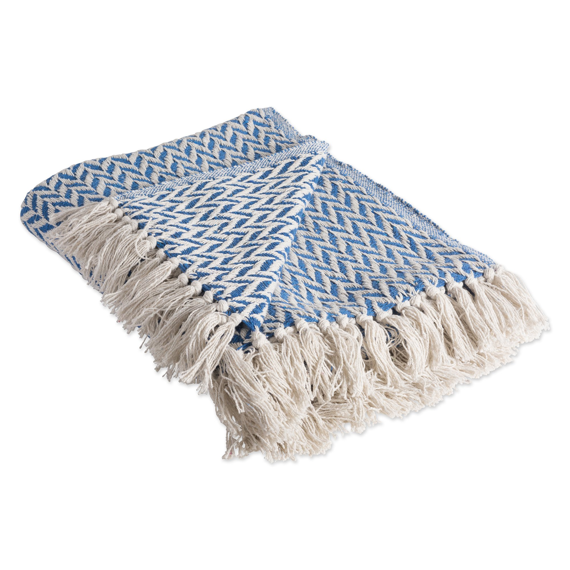 DII Rustic Farmhouse Cotton Zig-Zag Blanket Throw with Fringe For Chair, Couch, Picnic, Camping, Beach, & Everyday Use , 50 x 60'' - Silverlake
