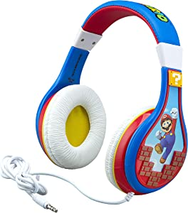 eKids Super Mario Kids Headphones, Adjustable Headband, Stereo Sound, 3.5Mm Jack, Wired Headphones for Kids, Tangle-Free, Volume Control, Childrens Headphones Over Ear for School Home, Travel