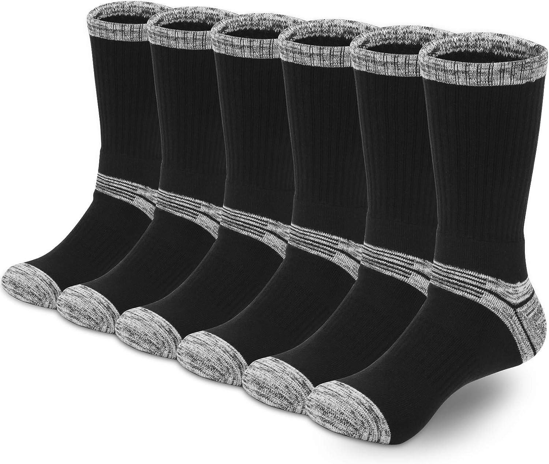 YUEVO SPORTS 6 Paires Chaussettes de randonn/ée pour Hommes Respirantes Anti-humidit/é Chaussettes de Marche Chaussettes de Sport