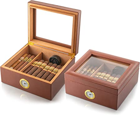 Mantello Glass Top Handcrafted Cigar Humidor Holds (25 50 Cigars) Spanish Cedar Cigar Box with Humidifier, Hygrometer and Adjustable Cigar Tray