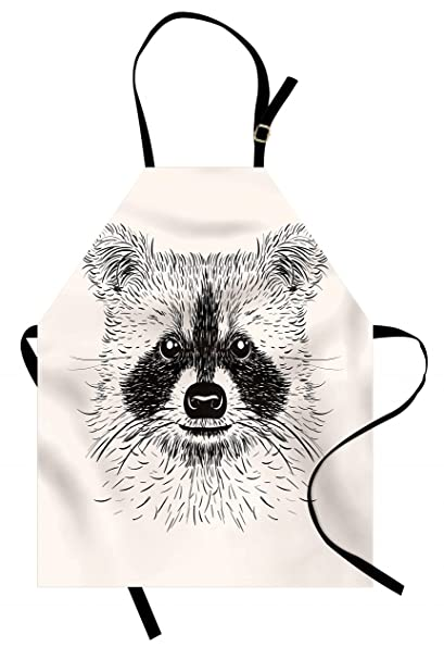 767046619 Lunarable Raccoon Apron, Baby Animal Cuteness Face Sketch Little Forest  Character Tattoo Style Doodle,
