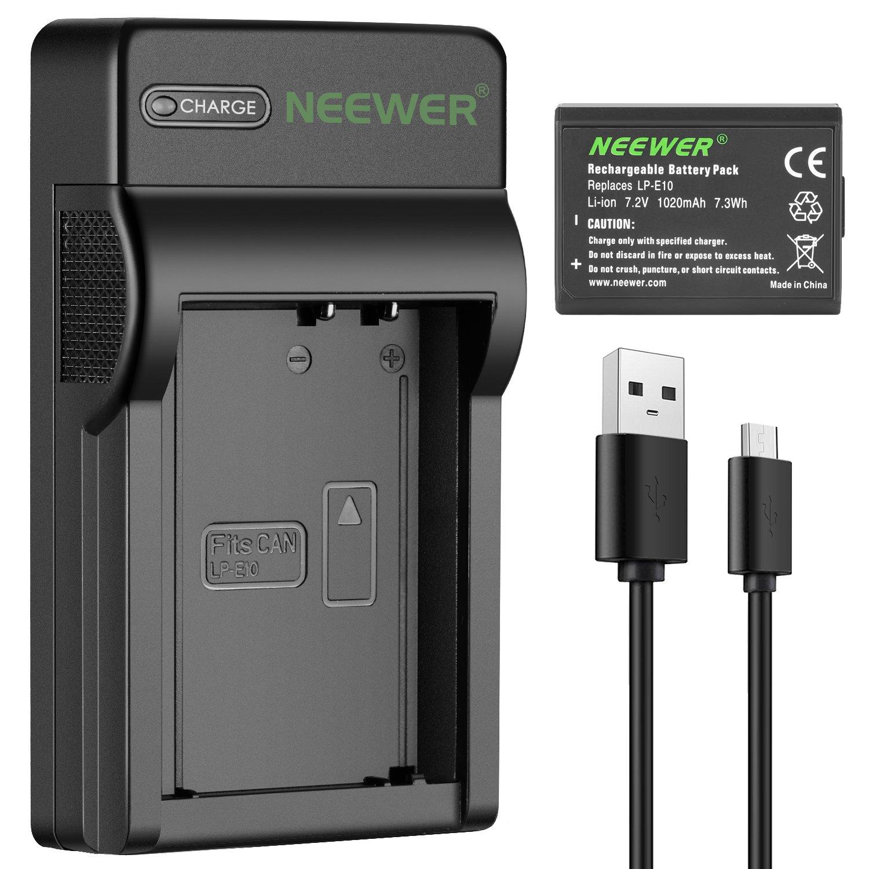 Neewer Cámara Batería Cargador Set para Canon LP-E10 ...