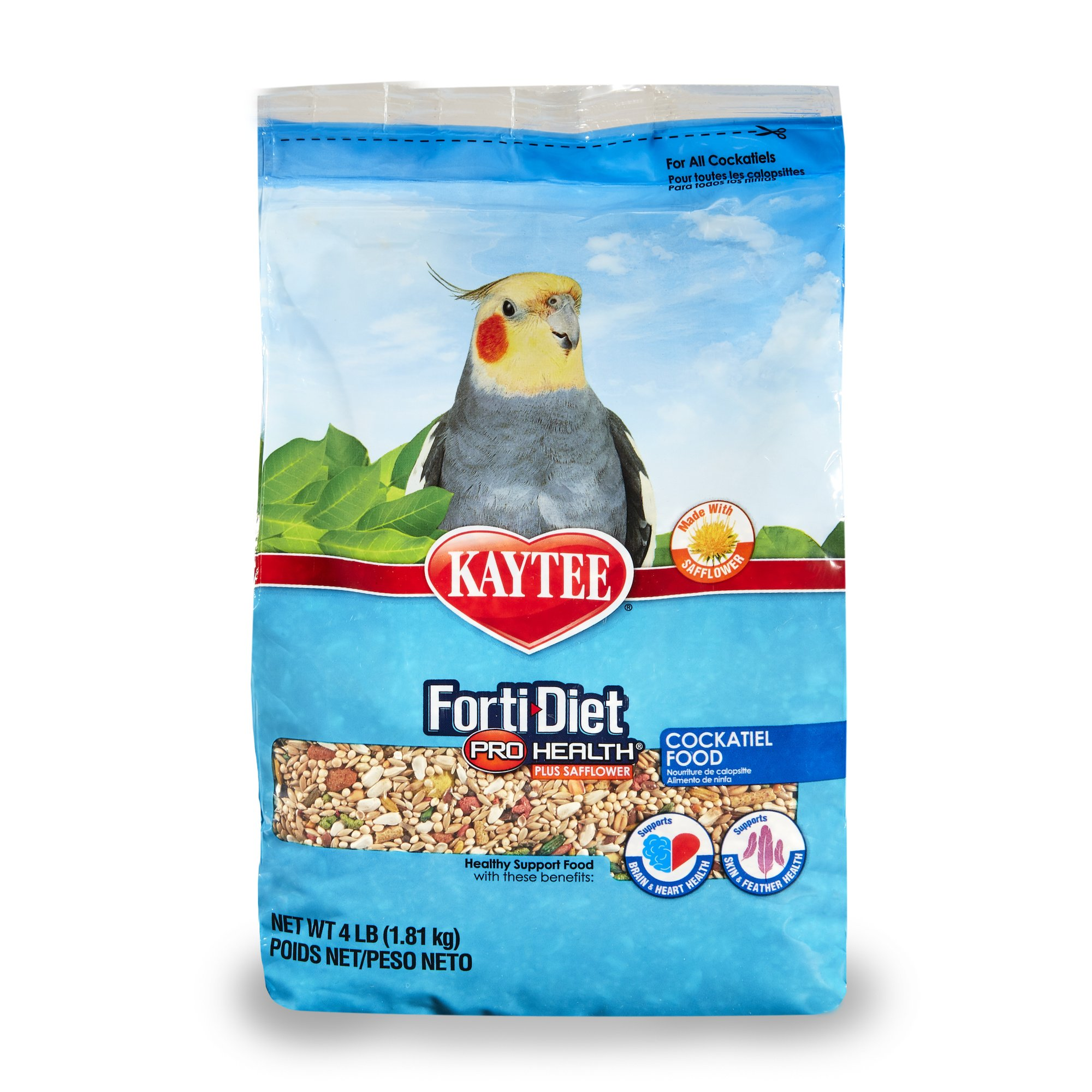 Kaytee Forti-Diet Pro Health Cockatiel food with Safflower, 4 lb by Kaytee
